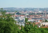 view of the Prague city centre from park Santoška in Prague 5